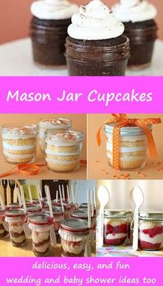 Let's make Mason Jar Cupcakes! Great 'cake in a jar' ideas, recipes, and DIY tips – mason jar cupcake baby shower and wedding ideas too – Mason Jar Cupcakes, Mason Jar Desserts, Mason Jar Meals, Meals In A Jar, Mason Jar Diy, Mason Jar Crafts, Mini Desserts, Cake In A Jar, Dessert In A Jar