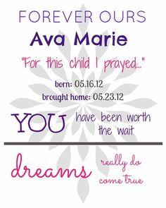 Adoption Announcement Print, 8x10 print, jpeg, girl, personalized