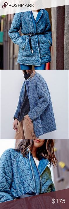 """Free People Chambray Quilted Coat Jacket NWOT. NO TRADES.   Collarless quilted chambray coat, in a worn-in washed fabric, with a hidden zip closure and side pockets. Lined with a super soft jersey.  Free People  100% Cotton Machine Wash Cold  Bust: 44.0"""" = 111.76 cm Length: 32.0"""" = 81.28 cm Sleeve Length: 30.25"""" = 76.84 cm Free People Jackets & Coats"""