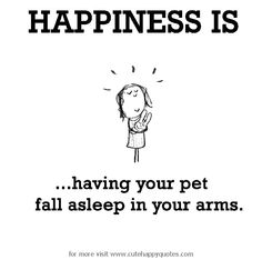 Happiness is, having your pet fall asleep in your arms.