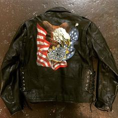 80's leather jacket with Harley Davidson eagle painted on back size 44 in our SF shop
