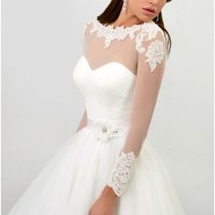 Stylish simplicity perspective lace long-sleeved wedding dress a-line wedding dress exquisite applique bridal wedding dress