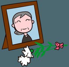 母の日の贈り物 遺影にカーネーションを手向ける イラスト