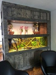 Pallet Wall Unit With Fish Tank Enclosure