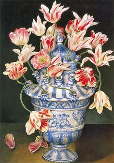 Four more scans from Stephanie Hoppen's book Decorating With Pictures. Blue and white is always right, isn't it? Blue and white with. Betty Blue, Tulips In Vase, Blue And White Vase, Country Blue, Flower Frog, Decorating With Pictures, Container Flowers, Blue China, Ceramic Flowers