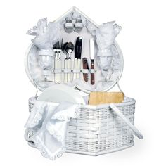 White Picnic Basket W/ Deluxe Service For 2