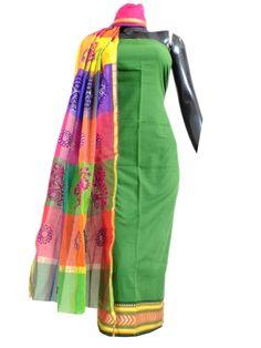 Maheshwari Dupatta&Mangalgiri Kurta- Green&Multicolored