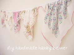 vintage hanky banner - like the gathered banner vs flat pennant style