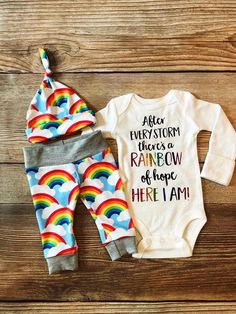 60c43de32c38b After Every Storm Rainbow of Hope Newborn Outfit Rainbow Baby Coming Home  Outfit - March 02 2019 at