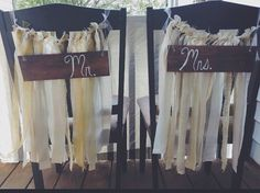 Items similar to Husband and Wife Chair signs with Fabric Garland on Etsy Fabric Garland, Events, Crafty, Signs, Future, Chair, Unique Jewelry, Handmade Gifts, Vintage