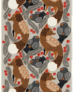 Made of cotton, this printed cotton fabric in the light grey and reddish brown Ketunmarja pattern is printed in Marimekko´s printing mill in Helsinki. This fabric can be made into curtains, a tablecloth and much more.