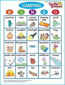 8/24/12 Camping Bingo.  We made our own because we couldn't find this page anymore.  We brainstormed what you see when you go camping and drew our own pictures on a blank BINGO template.