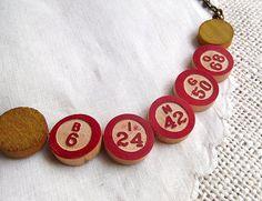 Vintage bingo necklace - bingo marker necklace - wooden bingo marker necklace - repurposed necklace - avant jewelry - bingo chips necklace