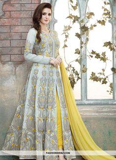 Be your very own #style & #design diva with this #grey & #yellow #artsilk #pantstyle #designer #salwarkameez
