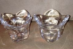Set Of (2) Heavy Clear Cut Glass Crystal Votive Candle Holder