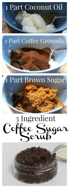 DIY scrub using just 3 ingredient. So easy! Exfoliante de bricolaje con s. DIY scrub using just 3 ingredient. So easy! DIY scrub with only 3 ingredients. So easy! Diy Body Scrub, Diy Scrub, Coffee Body Scrub Diy, Coffee Scrub For Cellulite, Body Scrub Homemade, Exfoliating Body Scrub Diy, Homemade Coffee Scrub, Homemade Face Wash, Diy Body Wash