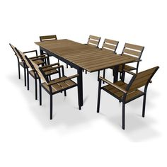 Urban Furnishing Brown Composite Wood Extendable Outdoor Patio 9-piece Dining Set | Overstock.com Shopping - The Best Deals on Dining Sets
