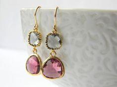 Charcoal Gray Grey and Plum Purple Earrings - Gold Bridesmaid Earrings - Colorblock Earrings - Bridal Earrings - Bohemian Earrings on Etsy, $30.00