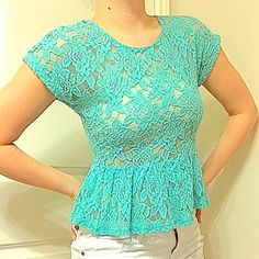 Teal shear peplum top This top is shear, rather see through so I wear a nude bandu with it. Very cute worn with white or black. I usually wear a M too but this top is a S jcpenney Tops Blouses