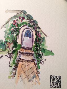 Charming Doorway Watercolor Card I