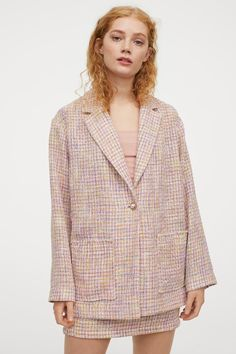 Textured-weave jacket - Light pink/Checked - Ladies | H&M GB Light Turquoise, Hm Outfits, Winter Outfits, Blazer, Straight Cut, Purple Yellow, Fashion Company, Neue Trends