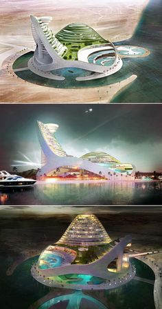 Designed by JDS Architects with an unique futuristic architecture, Avaza Aqua Park is an entertainment complex in Avaza, Turkmenistan - architecture Architecture Design, Minimalist Architecture, Green Architecture, Islamic Architecture, Futuristic Architecture, Beautiful Architecture, Floating Architecture, Chinese Architecture, Unusual Buildings