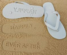 Happily Ever After Flip Flops by Flipside Flip Flops  These are super cheesy & cute, but if you can't be cheesy on your honeymoon, when can you?
