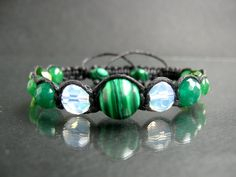 Shamballa Peace bracelet, green Malachite, green Avanturine, MoonStone, Swarovski crystal elements, green Agate, harmony summer bracelet
