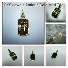 18kt Antique Gold Limited Edition Mini Tag handmade by Paolo Brunicardi goldsmith & jewelry maker for FKS Jewels