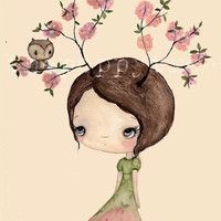 Spring Sale Tree Girl PrintOwl In My Tree by thepoppytree on Etsy