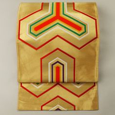Gold silk fukuro obi / 【袋帯】リサイクル着物/金地 多色の毘沙門亀甲柄 六通