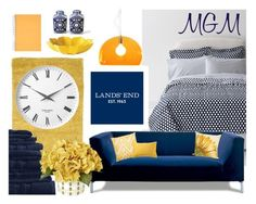 """""""Design Your Dream Dorm with Lands' End: Contest Entry"""" by paperandpen ❤ liked on Polyvore featuring interior, interiors, interior design, home, home decor, interior decorating, Lands' End, Loloi Rugs, Bococo and Liora Manné"""