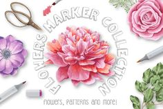 Flowers Marker Collection by Julia Dreams on @creativemarket