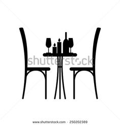 cafe table and chairs clipart. wine and candles on the table chair silhouette. silhouette of a in cafe. with glass chairs beside him. cafe clipart