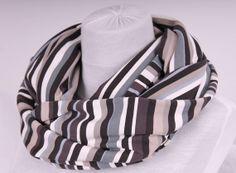 Gray white beige brown black stripe design Infinity scarf - loop scarf - infinity cowl - nomad cowl - circle scarf