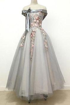Prom Dresses Long #PromDressesLong, A-Line Prom Dresses #ALinePromDresses, Lace Prom Dresses #LacePromDresses, Grey Prom Dresses #GreyPromDresses