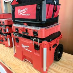 toolaholicIncredible storage by @milwaukeetool  I sound like a geek but Im seriously impressed.  Compact organizers, drill/impact boxes with integrated fastener storage.  Everything locks together with a slide. Disconnects take ONE finger!  Tether points on the large rolling box for material tie down.  Integrated internal tick mounting location.
