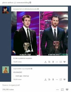 "Chris Evans. The comments though! ""It's like a pokemon evolution"" ""I don't age, I level up."""
