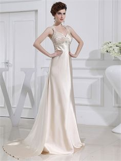 A-line off-the-shoulder v-neck court train champagne Prom Dresses PGD0015