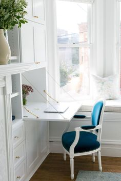 Fold down shelf desk   Read More on SMP: http://www.stylemepretty.com/living/2016/05/03/an-ikea-hack-totally-transforms-this-san-francisco-apartment/