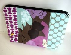 50% OFF SALE Sage Patchwork  Cosmetic Bag Large Padded Flat Bottom Zipper Pouch by JPATPURSES, $9.00