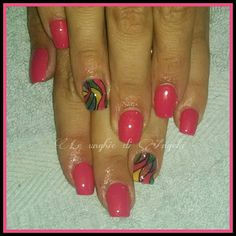 Girly gel nails with colorful accents :)