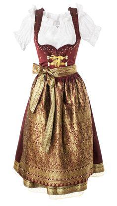 #Farbbberatung #Stilberatung #Farbenreich mit www.farben-reich.com Burgundy dirndl and gold apron.