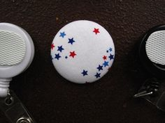 Red and Blue Stars on White Fabric Covered by tallulahssatchels (Accessories, Lanyard, badge reel, retractable, badge strap, clip on, lanyard, fabric button, tag holder, id badge reel, name tag, id, velcro button, Independence Day, 4th of July button)
