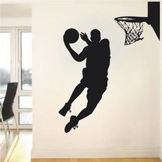 Basketball Player Wall Decal - Jump Shoot Loop Basketball Decal - Basketball Wall Decal Sticker - Removable Wall Decals for Teens Sports Wall Decals, Vinyl Wall Stickers, Wall Decal Sticker, Vinyl Wall Decals, Basketball Bedroom, Basketball Wall, Basketball Players, Basketball Decorations, Removable Wall Decals