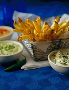 Fresh made skin on Idaho® French fries served with three dipping sauces