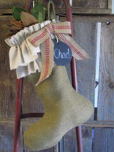 Vintage Ruffled Burlap Stocking