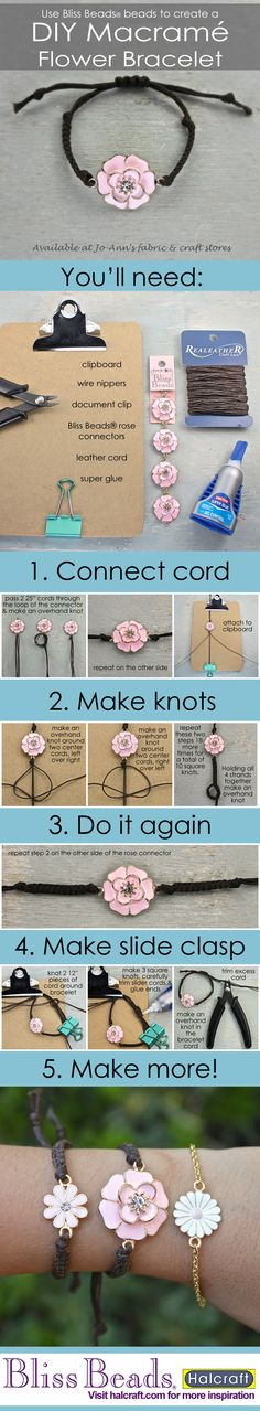 Learn to make your own macramé flower child bracelets with Bliss Beads from @Jo-AnnFabric&Craft stores