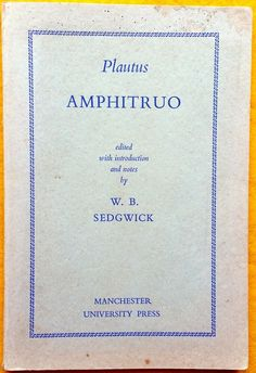 Amphitruo by Plautus ed Sedgwick Latin text English notes used paperback 1960 Book In Latin, Latin Text, Teacher Notes, Book Collection, Literature, The Originals, Learning, Books, English