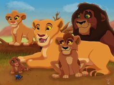 Wel these are Kovu and Kiara as the parent and three of their cubs Shungi (The one with the pink outlander nose), Shani (The baby) and Moyo (The boy). Kovu and Kiara family Lion King Series, The Lion King 1994, Lion King Fan Art, Lion King 2, Lion King Movie, King Art, Simba Disney, Disney Lion King, Disney S
